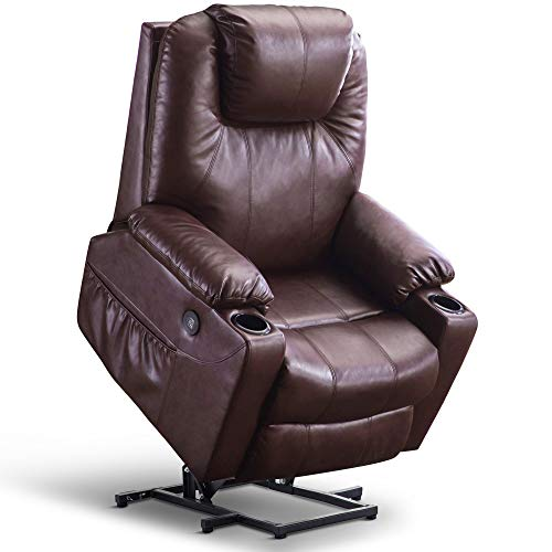 Mcombo Oversized Power Lift Recliner Chair with Massage and Heat for Elderly Big and Tall People, 3 Positions, 2 Side Pockets and Cup Holders, USB Ports, Faux Leather 7517 (Large, Dark Brown)