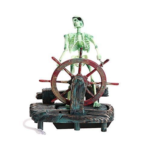 Bestgle Barco Acuario,Barco Corsair Barco a Vela para decoración de acuarios Decoración del Tanque de Peces del Capitán Pirata Esqueleto Decoraciones del Tanque de Pescados