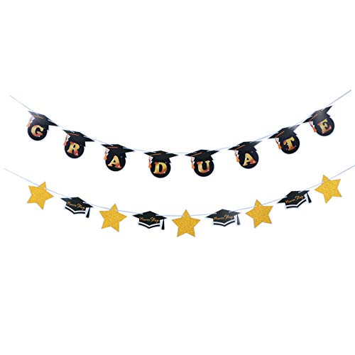 ABOOFAN 2pcs Graduation Party Creative Hanging Banners Party Scenes Hanging Ornaments