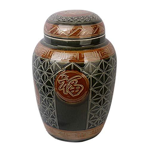XIANGAI Bocal à Cendres Bouteilles d'autel Cendres Fournitures funéraires Double Couche de craquelures de Glace en céramique (Color : E)