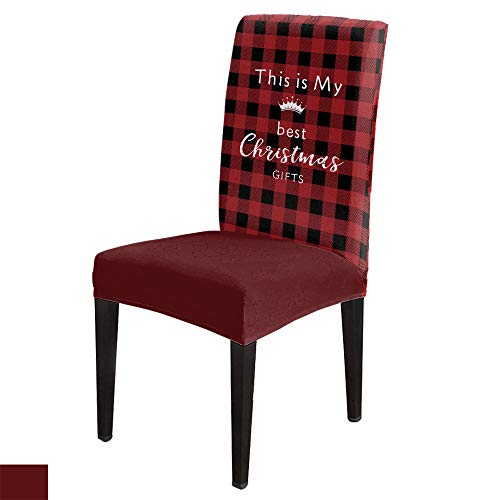 6 PCS Stretchy Dining Chair Slipcovers for Home Ceremony Banquet Wedding Party, Removable Washable Anti-Dirty Furniture Protector for Kids Pets, This is My Best Christmas Gifts on Red Grid