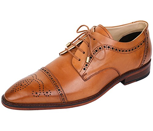 Lethato Handcrafted Mens Captoe Derby Genuine Leather Lace Up Boot Style Shoes- Tan-2