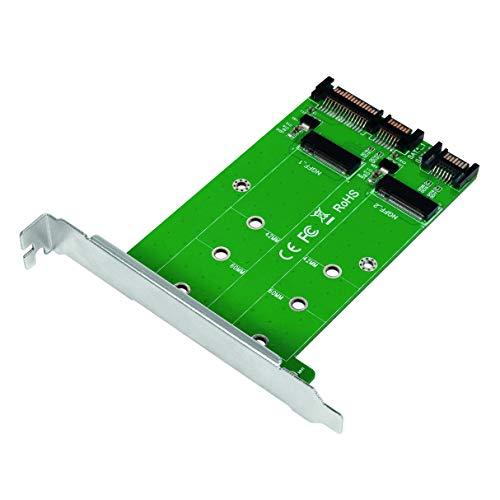 LogiLink PC0086 - Adattatore da SSD SATA a Doppio SATA (SATA III 6 Gbps) Dual M.2 (Key o B+M Key)