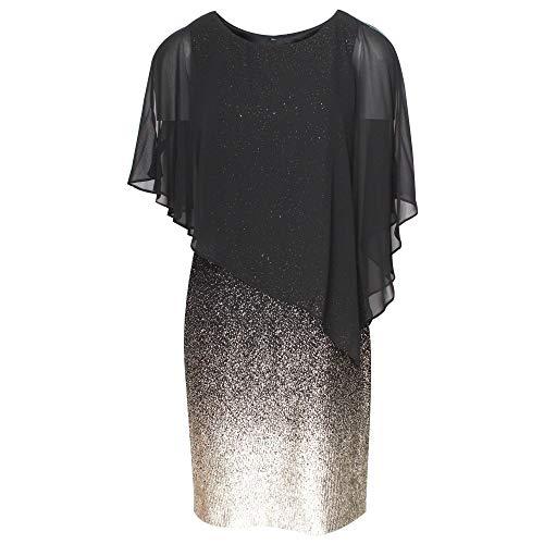 Frank Lyman Black & Gold Sheer Overlay Evening Dress 14 UK Black Multi