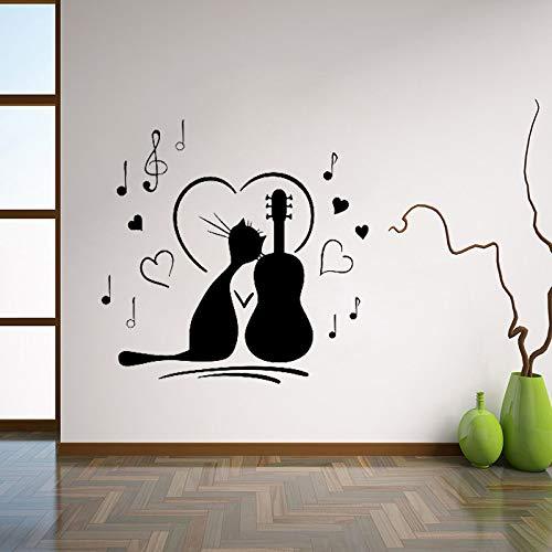 Geiqianjiumai Gato con Guitarra Notas Musicales Pegatinas de Pared Pegatinas de Pared Cuarto de niños habitación Infantil decoración de la Pared del hogar Negro 42x42cm