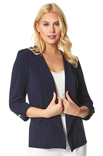 Roman Originals Vrouwen Getextureerde 3/4 Mouw Jas - Dames Formele Speciale Gelegenheid Event Everyday Party Casual Versitile Lente Zomer Lichtgewicht Cover Up Blazer Jas