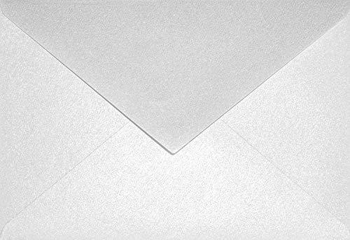 25 Perlmutt-Weiß DIN C6 Briefumschläge 114x162 mm Aster Metallic White Spitzklappe ohne Fenster Perlmutt-Glanz-Umschläge Perlglanz Pearls Perleffekt metallisch-glänzende Kuverts für Einladungen