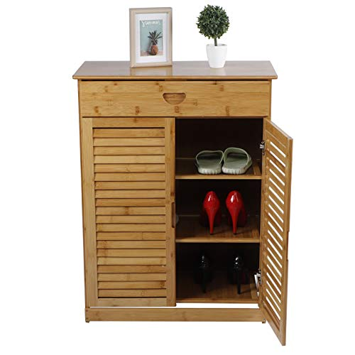 Shoes Storage Cabinet 3‑Tier Bamboo Shoe Rack Shoe Cabinet Storage Container Black Wood Shelf with Double Door Design for Entryway Bathroom Living Room