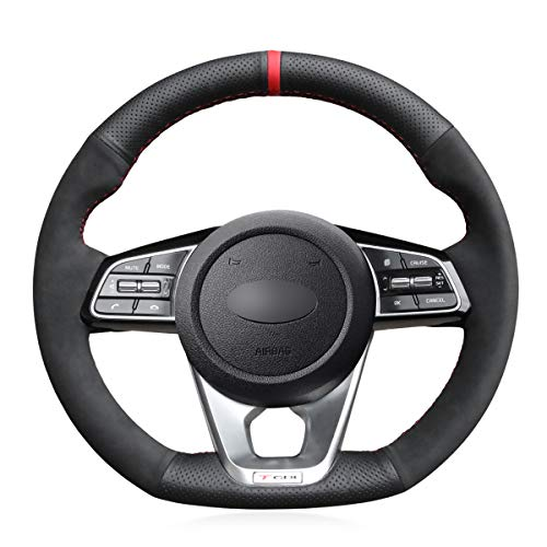 MEWANT Funda para volante de piel auténtica y ante para Kia K5 Optima 2019 Cee\'d Ceed GT 2019 Cee\'d Ceed GT-Line 2019 Forte GT 2019 Sportage 2019-2020 ProCeed GT 2019