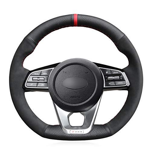 MEWANT Funda para volante de piel auténtica y ante para Kia K5 Optima 2019 Cee'd Ceed GT 2019 Cee'd Ceed GT-Line 2019 Forte GT 2019 Sportage 2019-2020 ProCeed GT 2019