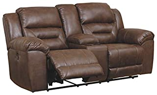 Signature Design by Ashley - Stoneland Faux Leather Double Reclining Power Loveseat with Console, Dark Brown (B07Y46LGKZ)   Amazon price tracker / tracking, Amazon price history charts, Amazon price watches, Amazon price drop alerts