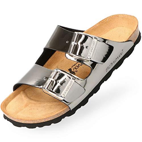BOnova Damen Pantolette Schwanberg in 9 Farben, sommerliche Sandalen in auffälligen Farben und mit Beschlägen, Bequeme Hausschuhe mit Kork-Sohle anthrazit Mirror 42