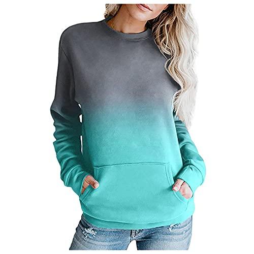 GANBADIE - Sudadera con capucha para mujer, talla S, verde, S