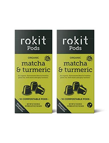 Rokit Pods | Vainas de Té Matcha Japonés y Cúrcuma | Cápsulas Compostables | Cápsulas Compatibles con la Máquina de Café Nespresso | No Más Cucharas, Batidos o Polvo | Pack de 20 Cápsulas Multipack