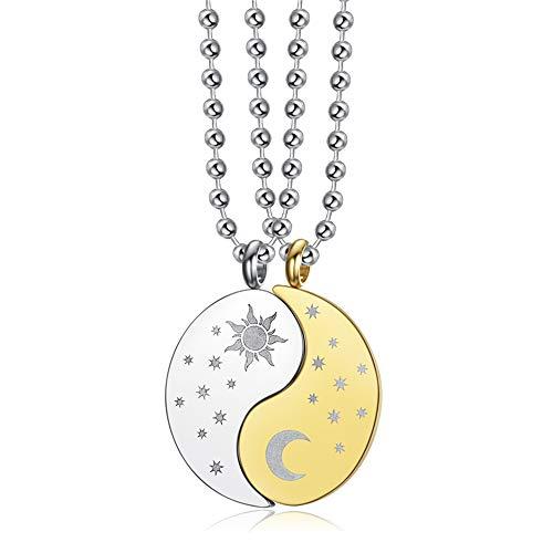 Blowin Juego de 2 collares con colgante de puzle de Yin Yang, de acero inoxidable, con diseño de sol, luna, a juego, para él y ella, para los mejores amigos, joyería de amistad dorado