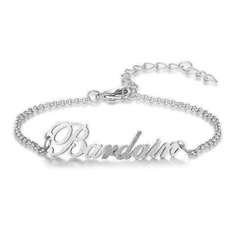 XiXi Personalizado Pulsera Plata con Nombre Grabado Madre Hija Pulsera Regalo para Mujeres Niñas Encanto Joyería para el Día de la Madre San Valentín Cumpleaños (silver)