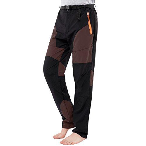 Sidiou Group Printemps Automne Été Mince Pantalon Softshell Homme Pantalons Trekking Pantalon d'escalade Pantalon imperméable Quick Dry Pantalons de randonnée (Noir+Café, XL 33\