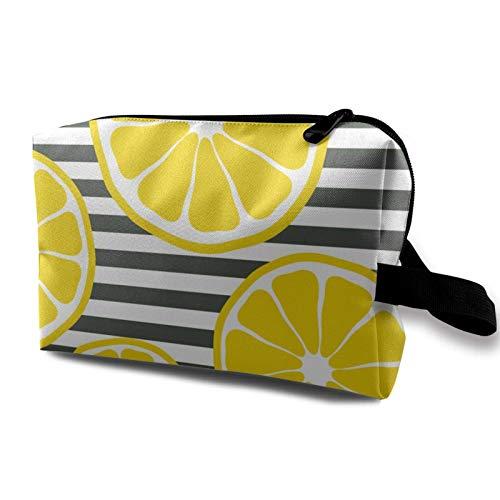 Travel Makeup Storage Bag- Portable Toiletry Handbag Small Cosmetic Organizer Pouch for Women & Men- Fresh Lemon