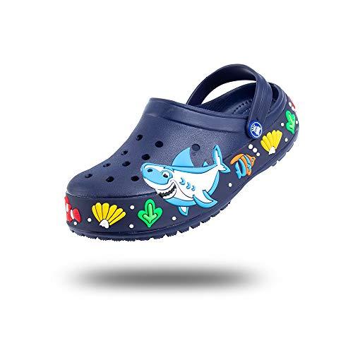 Clogs Kinder Hausschuhe Jungen Mädchen Gartenclogs Sandalen Geschlossene Sommer Pantoletten Badeschuhe Schuhe Leicht rutschfest Tiefes Blau Größe 32 EU