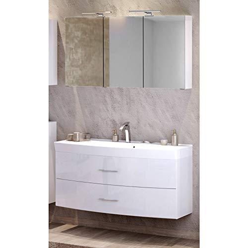Lomadox Waschtisch & Spiegelschrank Badezimmer Set in Hochglanz weiß ● 120cm Waschtisch mit Unterschrank inkl. Waschbecken ● 3D Spiegelschrank mit 2 LED-Leuchten & Steckdose ● Made in Germany