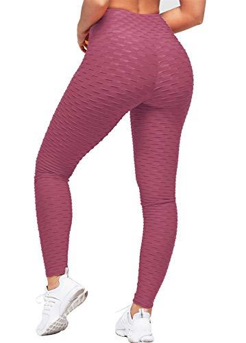 Uniquestyle Damen Sport Leggings Honeycomb Leggings Yoga Fitness Hose Lange Sporthose Stretch Workout Fitness Jogginghose Bordeaux XL