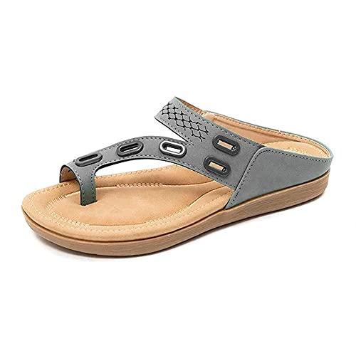 Huaji Sandalias planas de cuero de la PU zapatillas casuales para las mujeres Flip-Flops anillo abierto diapositiva plantilla de corcho