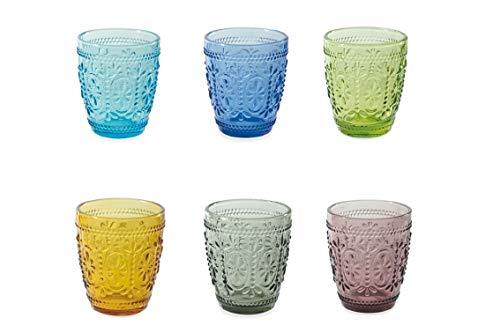 Villa D'Este Home Tivoli 2197871 Koralight/Imperial Set aus 6 Wassergläsern, 6 Farben, Glas