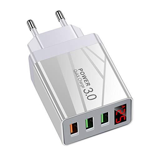 Yihaifu Cargador de teléfono USB de 3 Puertos del Cargador LED LED Adaptador de Carga rápida de Carga portátil Adaptador de Carga, Blanco, la UE