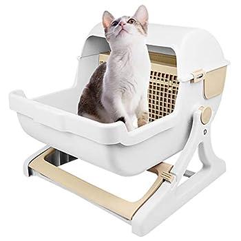 Toilette Semi-Automatique Cat, Plus Grand Espace Résine PP Cat Litière Boîte avec Support, Pratique Et Facile