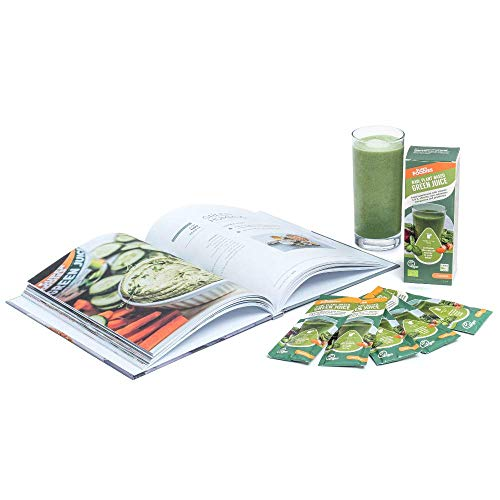Superfoodies Extra Strength Organic Green Juice Powder + Free Book - 26+ Superfoods, Vitamin D, C, Iron & Probiotics – Your Daily Vitamin Dose, Supports Immunity, Natural Energy & Tiredness (7x10G)