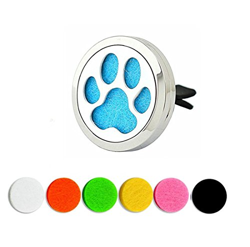 YOYONY Car Air Freshener Aromatherapy Essential Oil Diffuser Vent Clip Fragrance Air Purifier Stainless Steel Magnetic Locket 6 Colorful Felt Refill Pads,Best Gifts for Drivers. (Cat paw)