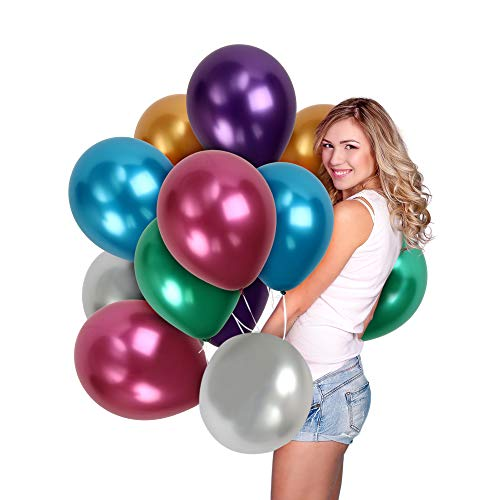 Treasures Gifted Assorted Chrome Metallic Latex Balloons for Parties 72 Pack 12 Inch for Thick Party Decorations Bulk Decor for Wedding Anniversary Baby Bridal Shower Disco Supplies