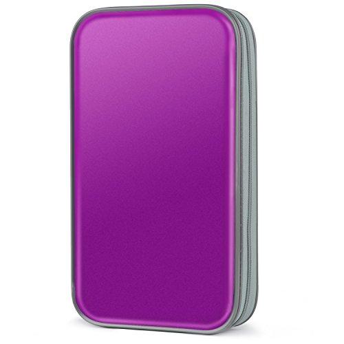 COOFIT - Funda para CD, 80 capacidad para almacenamiento de DVD y DVD VCD, organizador de almacenamiento de plástico flexible y protector de DVD, Mejora púrpura