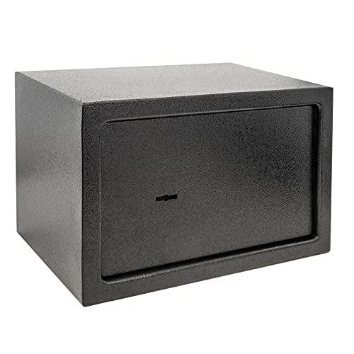 PrimeMatik - Caja Fuerte de Seguridad de Acero y con Llaves 31 x 20 x 20 cm Negra