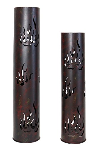 """Frank Flechtwaren, 229219: Windlicht-Säule """"Flammen"""" im 2er Set aus Metall, lackiert in matt schwarz und patiniert in braun, gelb und rot, Kerzen herausnehmbar (Höhe 80cm und 99cm)"""