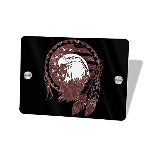Iop 90p Native American Symbols - Placa Decorativa para Puerta, diseño de águila, Madera MDF, Blanco, Talla única