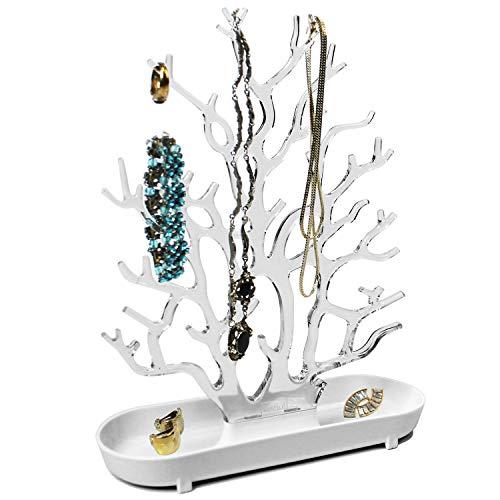 Soporte para joyas (26 x 9 x 32 cm), diseño de árbol con estante