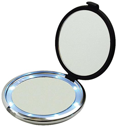 Price comparison product image Floxite Fl-360-b 10x Led Lighted Compact With Crystals and Dfp Quality Glass,  Black