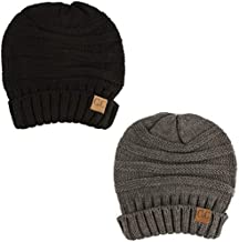 Winter Trendy Warm Oversized Chunky Baggy Stretchy Slouchy Skully Beanie Hat Black/Gray 2 Pack Combo