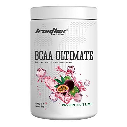 IronFlex BCAA Ultimate - 1 Pack - Branched Chain Amino Acids in Powder - Muscle Regeneration – Anticatabolic – Citrulline Malate (Passion Fruit Lime, 400g)