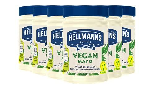 Hellmann\'s Vegan Mayonnaise Glas (frei von Gluten & Eiern - 100{804465304678b3f865e9e853ec9ff541c1d2729e51407d8e8bfde6ceccb2ce66} pflanzlich ohne Zusatz von künstlichen Geschmacksverstärkern und Farbstoffen), 6er Pack (6 x 270 g)