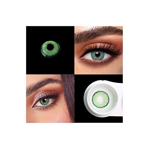BIO-ESSENCE Pack Lentillas de Hidrogel blandas 1 par Lentes de contacto color verde sin graduación. Duración: 12 meses. Con estuche y 10ml de solución (VERDE MAGICO)