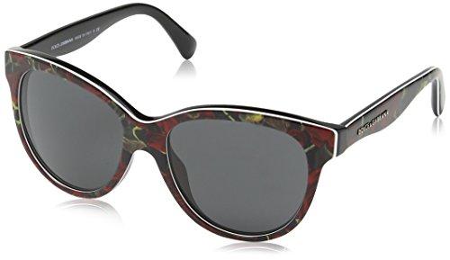 Dolce & Gabbana Damen DG4176 Sonnenbrille, Mehrfarbig (Schwarz, Rot/Schwarz 293887), Small (Herstellergröße: 49)