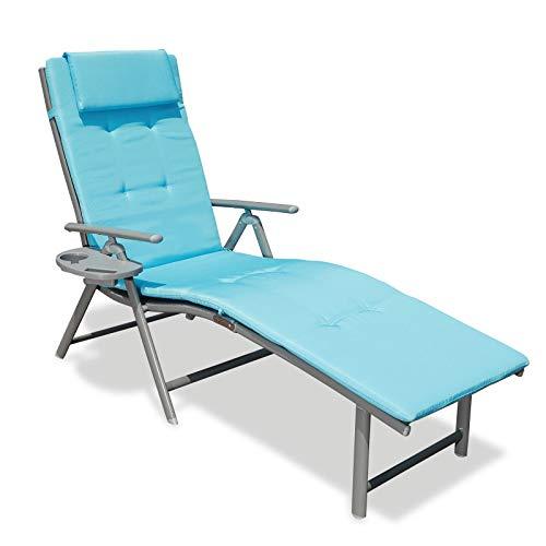 Goldsun - Silla reclinable de Aluminio para Exteriores, Plegable, Ajustable, para Patio, Playa, Porche, Columpio, Piscina