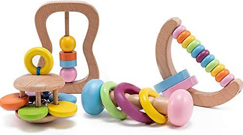 Let's Make 4pc Bio-Kleinkind Holzspielzeug Holz Montessori Baby Rassel Intellektuelle Kleinkind Greifspielzeug Perfektes Neugeborenen Geschenk