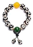 Feng Shui Armband, Natürliches Amulett Schwarzweiß Tibetisch 3 Augen Dzi Perlen Armband Jade Carving Armreif Ziehen Sie Positive Energie Und Viel Glück An