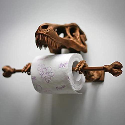 Psycker Toilettenpapierhalter ohne Bohren, Metall Dinosaurier Schädel Toilettenpapier Spender, WC Rollenhalter Freistehend WC Papierhalter Toilettenrollenhalter für Badezimmer Toilette Küche