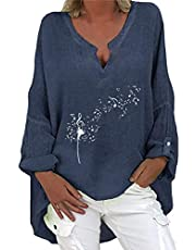 Hunpta @ Damski T-shirt z nadrukiem kwiatowym dmuchawiec z długimi rękawami, luźny asymetryczny Jumper, sweter, bluzka, oversize top