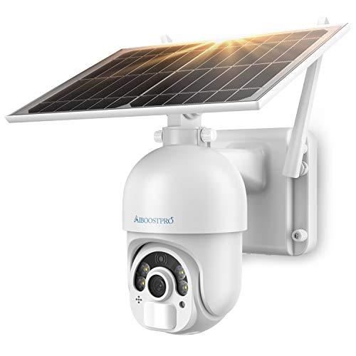 AIBOOSTPRO Camera Surveillance WiFi Exterieure avec Panneau Solaire, Caméras de Surveillance sans Fil sur Batterie 14400mAh Double Détecteurs PIR Radar Vision Nocturne 1080P Audio Bidirectionnel