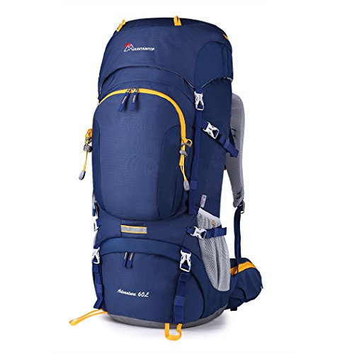 MOUNTAINTOP 50L/60L Hiking Backpack with Rain Cover (60L-Blue)